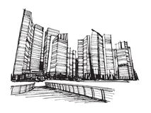 Città panoramica di Singapore di schizzo del disegno della carta bianca Fotografie Stock Libere da Diritti