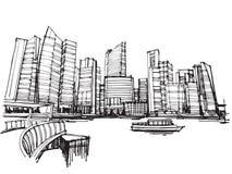 Città panoramica di Singapore di schizzo del disegno della carta bianca Fotografia Stock