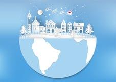 Città per il Natale con il fiocco di neve e Santa Stile di arte della carta dell'illustrazione di vettore Fotografie Stock Libere da Diritti