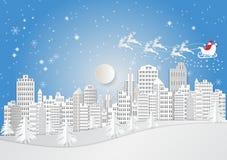 Città per la stagione di Natale con il fiocco di neve e Santa Claus Stile di arte della carta dell'illustrazione di vettore Fotografia Stock Libera da Diritti