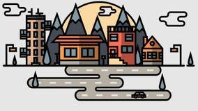 Città piana di progettazione Città astratta di vettore Fotografia Stock