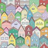 Città in pieno del modello senza cuciture delle case Immagine Stock Libera da Diritti