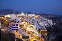 Città principale di Fira, Santorini, Grecia Immagine Stock