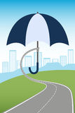 Città proteggente dell'ombrello illustrazione di stock