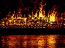 Città Regno Unito di Londra del fuoco Immagini Stock Libere da Diritti