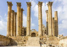 Città romana antica di Gerasa Jerash moderno, Jordan Artemis Temple fotografia stock libera da diritti