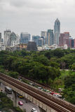 Città Scape di Lumpini a Bangkok, Tailandia fotografie stock