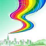 Città Scape - serie astratta della matita del Rainbow Fotografia Stock
