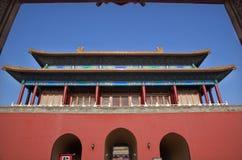 Città severa portelli rossi Pechino del cancello Immagine Stock Libera da Diritti