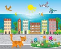Città soleggiata della spiaggia Immagini Stock Libere da Diritti