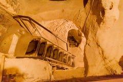 Città sotterranea di Cappadocia Turchia immagini stock
