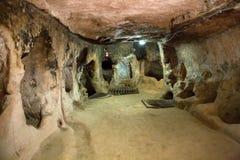 Città sotterranea di Derinkuyu, Cappadocia fotografie stock