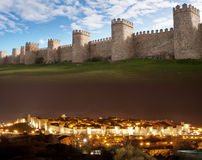 Città SPAGNA di Avila di giorno e di notte della composizione fotografie stock
