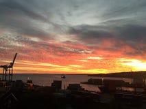 Città splendida del muschio del cielo di tramonto Immagini Stock