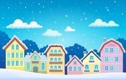 Città stilizzata nell'inverno Fotografia Stock