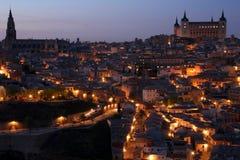 Città storica intorno a crepuscolo Fotografia Stock