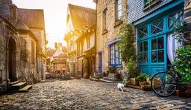 Città storica nella Bretagna, Francia al tramonto Fotografia Stock Libera da Diritti