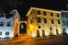 Città storica Sighisoara Città in cui era Vlad Tepes nato, Dracula fotografia stock libera da diritti