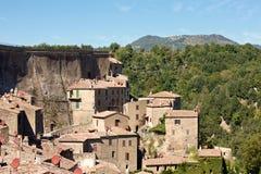 Città storica Sorano, Toscana, Italia Fotografie Stock