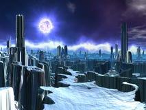 Città straniera abbandonata con Sun di morte illustrazione vettoriale