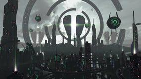 Città straniera di scifi negli effetti neri ed al neon futuristici rappresentazione 3d Immagine Stock Libera da Diritti