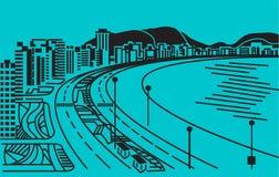 Città sul costo del mare. illustrazione di stock