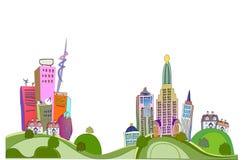 Città sull'illustrazione delle colline verdi Immagini Stock Libere da Diritti