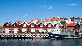 Città svedese di pesca Fotografia Stock Libera da Diritti