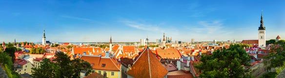 Città Tallinn I della città del paesaggio scenico panoramico di vista di panorama vecchia Fotografie Stock Libere da Diritti