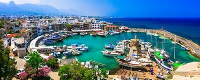 Città turca di Kyrenia della parte, visualizzazione di vecchia porta, isola del Cipro Immagini Stock Libere da Diritti