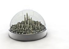 Città in un globo Fotografia Stock