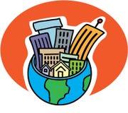 Città in un globo Fotografie Stock Libere da Diritti