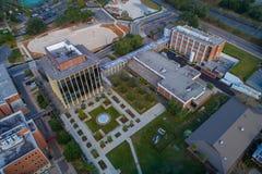 Città universitaria del centro dell'istituto universitario di Tallahassee FL di vista aerea Fotografie Stock