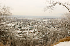 Città urbana in neve Fotografia Stock Libera da Diritti