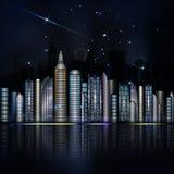 Città variopinta di notte nel vettore Città con il grattacielo, fiume, ligh Immagine Stock Libera da Diritti