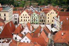 Città Vecchia in Cesky Krumlov, repubblica Ceca, Cechia, eredità Immagine Stock Libera da Diritti