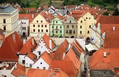 Città Vecchia in Cesky Krumlov, repubblica Ceca, Cechia, eredità Immagine Stock
