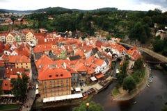 Città Vecchia in Cesky Krumlov, repubblica Ceca, Cechia, eredità Fotografia Stock Libera da Diritti