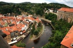 Città Vecchia in Cesky Krumlov, repubblica Ceca, Cechia, eredità Fotografia Stock