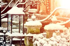 Città Vecchia a Danzica durante l'inverno Immagini Stock Libere da Diritti