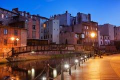Città Vecchia di Bydgoszcz di notte in Polonia Fotografie Stock Libere da Diritti