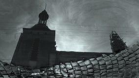 Città Vecchia di Leopoli ha riflesso in Ucraina fotografie stock libere da diritti