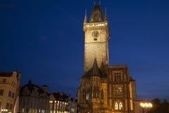 Città Vecchia Hall Tower nel quadrato di Città Vecchia, Praga; La repubblica Ceca; Fotografie Stock Libere da Diritti