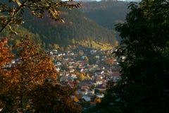 Città vecchia vista attraverso il legno immagine stock