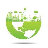 Città verde di ecologia del mondo rispettosa dell'ambiente Immagini Stock Libere da Diritti