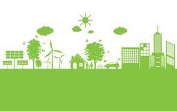 Città verde di ecologia rispettosa dell'ambiente Fotografia Stock