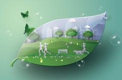 Città verde nella foglia Immagini Stock