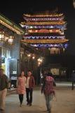Città antica di Ping Yao alla notte Immagine Stock