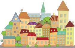 Città della costruzione di vettore del fumetto Fotografie Stock Libere da Diritti