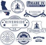 Città della riva del fiume, CA Bolli e segni Immagine Stock Libera da Diritti